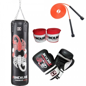 Boxset PUNCHLINE 120 mit Boxsack 120 cm, Boxhandschuhe, Wickelbandage und Springseil